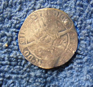 Silver hammered coin of Charles V obverse