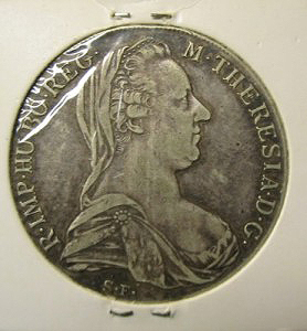 Silver coin of Maria Theresia obverse