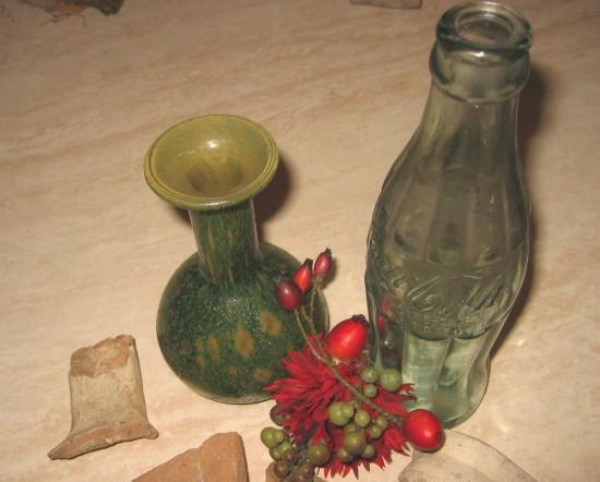 bodemvondst van een romeins flesje