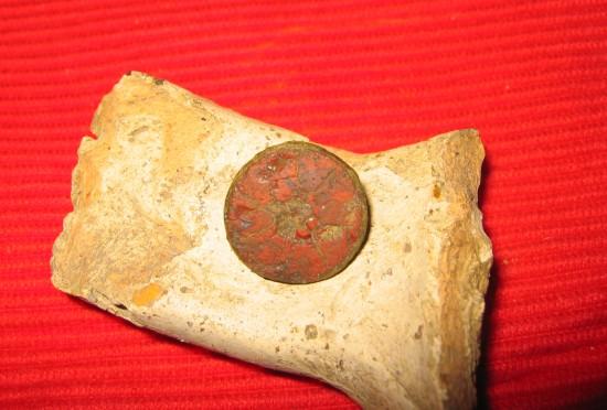 bodemvondst van een Romeinse schijffibula met rode emaille