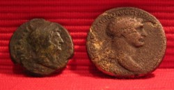 Roman coins As Hadrian and Sestertius Trajan front