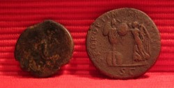 Roman coins As Hadrian and Sestertius Trajan reverse